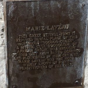 Historical plaque for the supposed tomb of Marie Laveau.